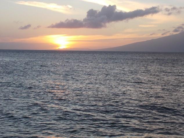 Maui setting sun on the ocean